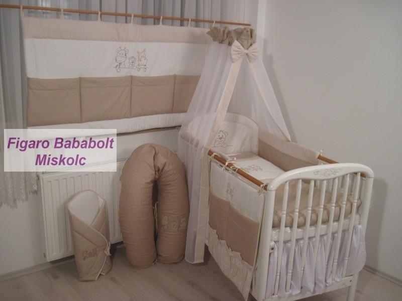 4 részes bébi ágynemű garnitúra muszlin függönnyel