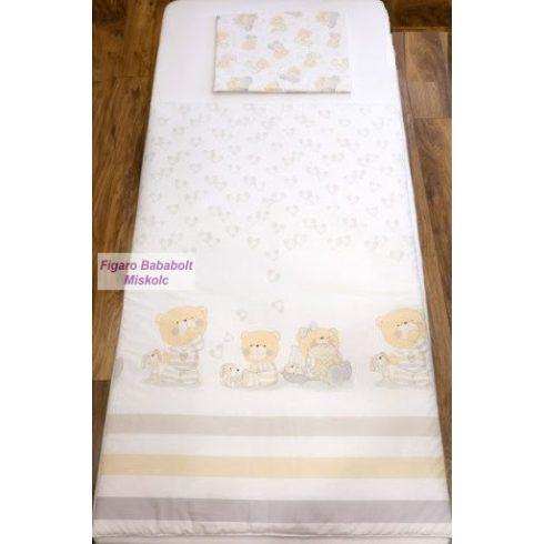 Pihe-bézs pizsamás mackók gyermek-, ovis ágynemű huzat