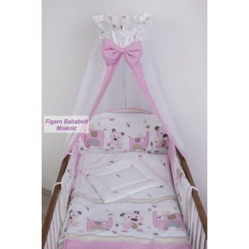 """4 részes bébi ágynemű garnitúra muszlin függönnyel """"Simi Eli rózsaszín"""""""