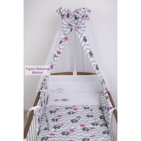 """4 részes bébi ágynemű garnitúra muszlin függönnyel """"Esernyős elefánt rózsaszín"""""""