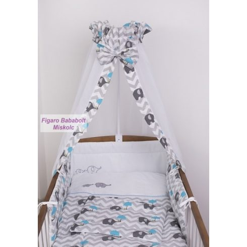 """4 részes bébi ágynemű garnitúra muszlin függönnyel """"Esernyős elefánt kék"""""""