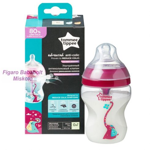 "Tommee Tippee Advanced Anti-colic 260 ml. cumisüveg ""rózsaszín"""