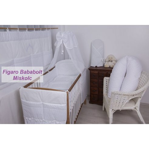 """4 részes bébi ágynemű garnitúra muszlin függönnyel """"Fehér madeira-házikós maci"""""""