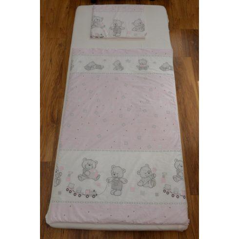 Rózsaszín cukorkás maci gyermek-, ovis ágynemű huzat