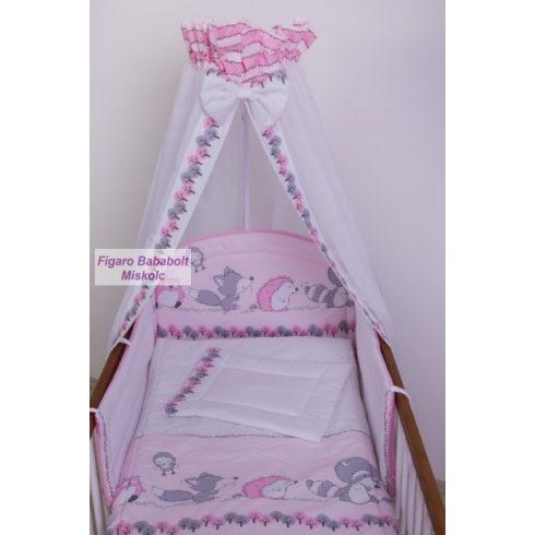 """4 részes bébi ágynemű garnitúra muszlin függönnyel """"Albert rózsaszín"""""""